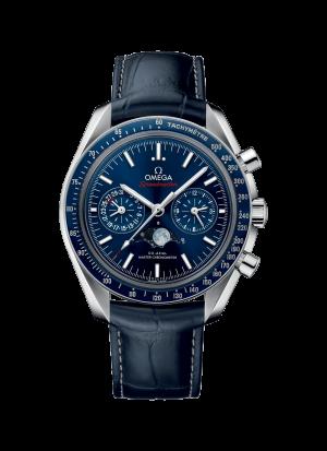 Omega Speedmaster Moonwatch Co-Axial Chronograph Blå Skive Blå Skinnrem 44,25 MM