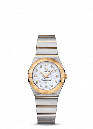 Omega Constellation Quartz Hvit Perlemor Diamant Skive Stål-Gull 27 MM-12320276055002