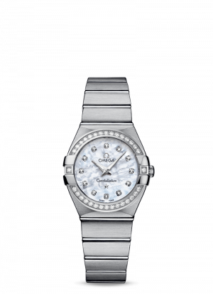 Omega Constellation Quartz Hvit Perlemor Skive Fullsatt Med Diamanter 27 MM-12315276055001