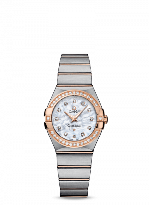 Omega Constellation Quartz Hvit Perlemor Skive Fullsatt Med Diamanter Stål-Rose 27 MM-12325276055001