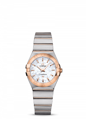 Omega Constellation Quartz Hvit Perlemor Skive Stål-Rose 27 MM-12320276005001