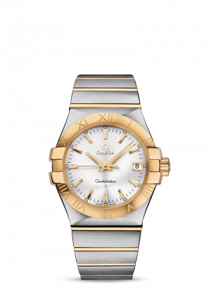 Omega Constellation Quartz Sølv Skive Stål-Gull 35 MM-12320356002002