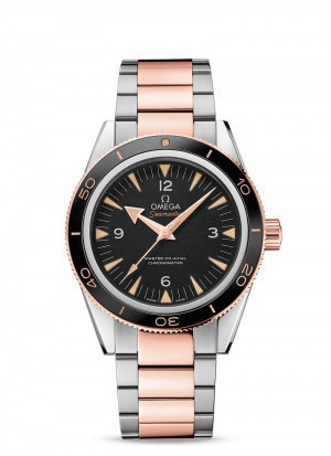 Omega Seamaster 300 Co-Axial Sort Skive Stål-Sedna Gull 41 MM-23320412101001