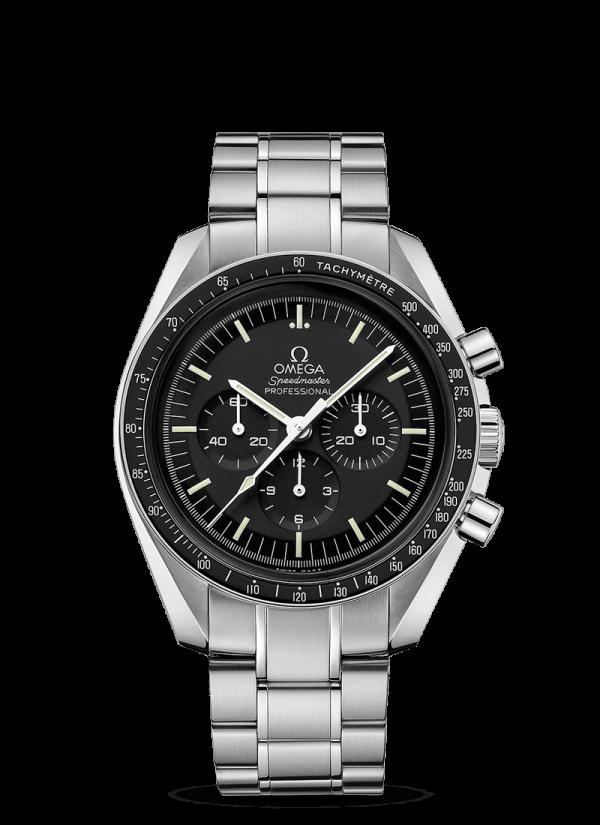 Omega Speedmaster Moonwatch Chronograph Sort Skive Stål 42 MM-31130423001006