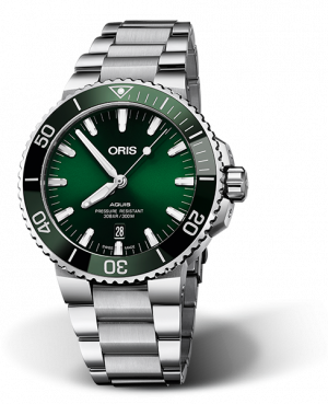 Oris Aquis Date Automatisk Grønn Skive Stål 43,5 MM 01 733 7730 4157-07 8 24 05PEB