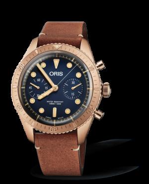 Oris Diver Carl Brashear Chronograph Limited Edition Automtaisk Blå Skive Brun Rem 43 MM 01 771 7744 3185-Set LS