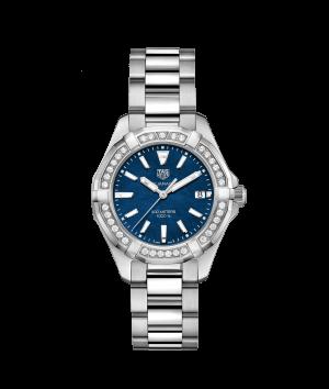 Tag Heuer Aquaracer Quartz Blå Perlemor Skive Med Diamant Bezel Stål 35 MM WAY131N.BA0748