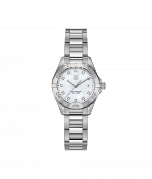 Tag Heuer Aquaracer Quartz Hvit Pelemor Diamant Skive Stål 27 MM WAY1413-BA0920