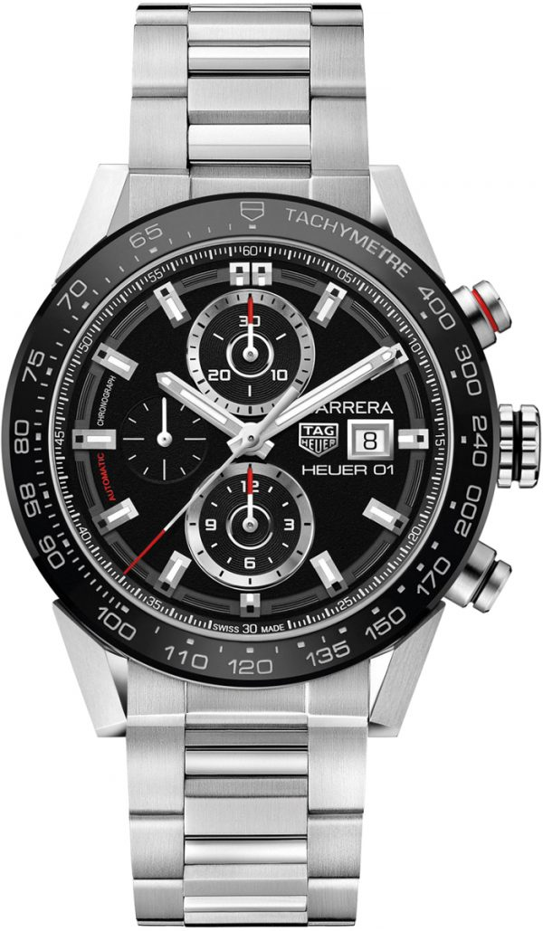 Tag Heuer Carrera Automatisk Chronograph Sort Skive Stål 43 MM-CAR201Z.BA0714