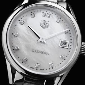 Tag Heuer Carrera Quartz Hvit Perlemor Diamant Skive Stål 32 MM-WAR1314.BA0778 1