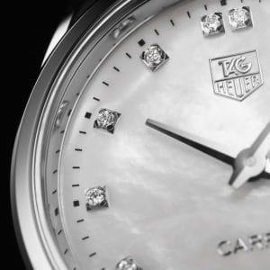 Tag Heuer Carrera Quartz Hvit Perlemor Diamant Skive Stål 32 MM-WAR1314.BA0778 2
