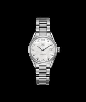 Tag Heuer Carrera Quartz Hvit Perlemor Diamant Skive Stål 32 MM-WAR1314.BA0778