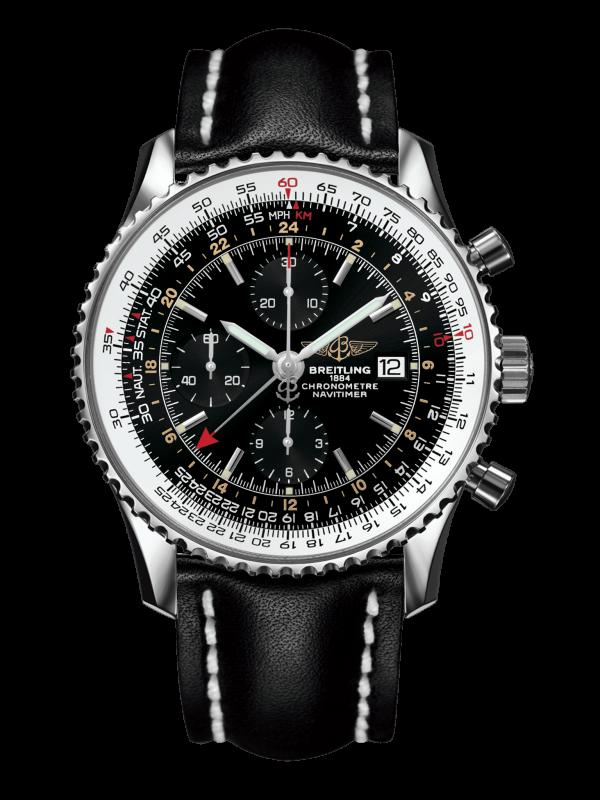 Breitling Navitimer 1 Chronograph GMT Automatisk Sort Skive Sort Skinnrem 46 MM A2432212-B726-441X-A20BA.1