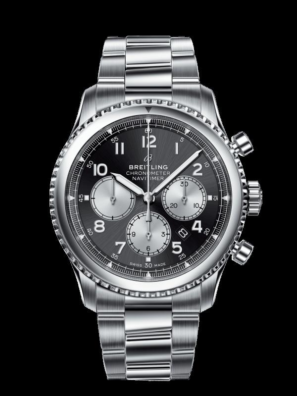 Breitling Navitimer 8 Chronograph Automatisk Sort Skive Stål 43 MM AB011713-BG65-188A