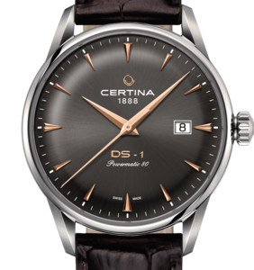 Certina DS-1 Powermatic 80 Automatisk Grå Skive Brun Skinnrem 40 MM C029.807.16.081.01