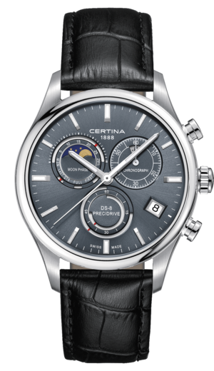 Certina DS-8 Chronograph Moon Phase Quartz Blå Skive Sort Skinnrem 42 MM C033.450.16.351.00