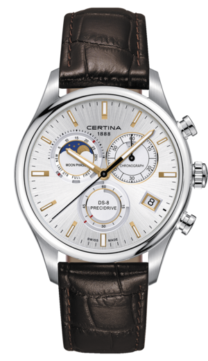 Certina DS-8 Chronograph Moon Phase Quartz Sølv Skive Brun Skinnrem 42 MM C033.450.16.031.00