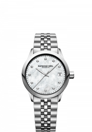 Raymond Weil Freelancer Quartz Hvit Perlemor Diamant Skive 34 MM 5634-ST-97081